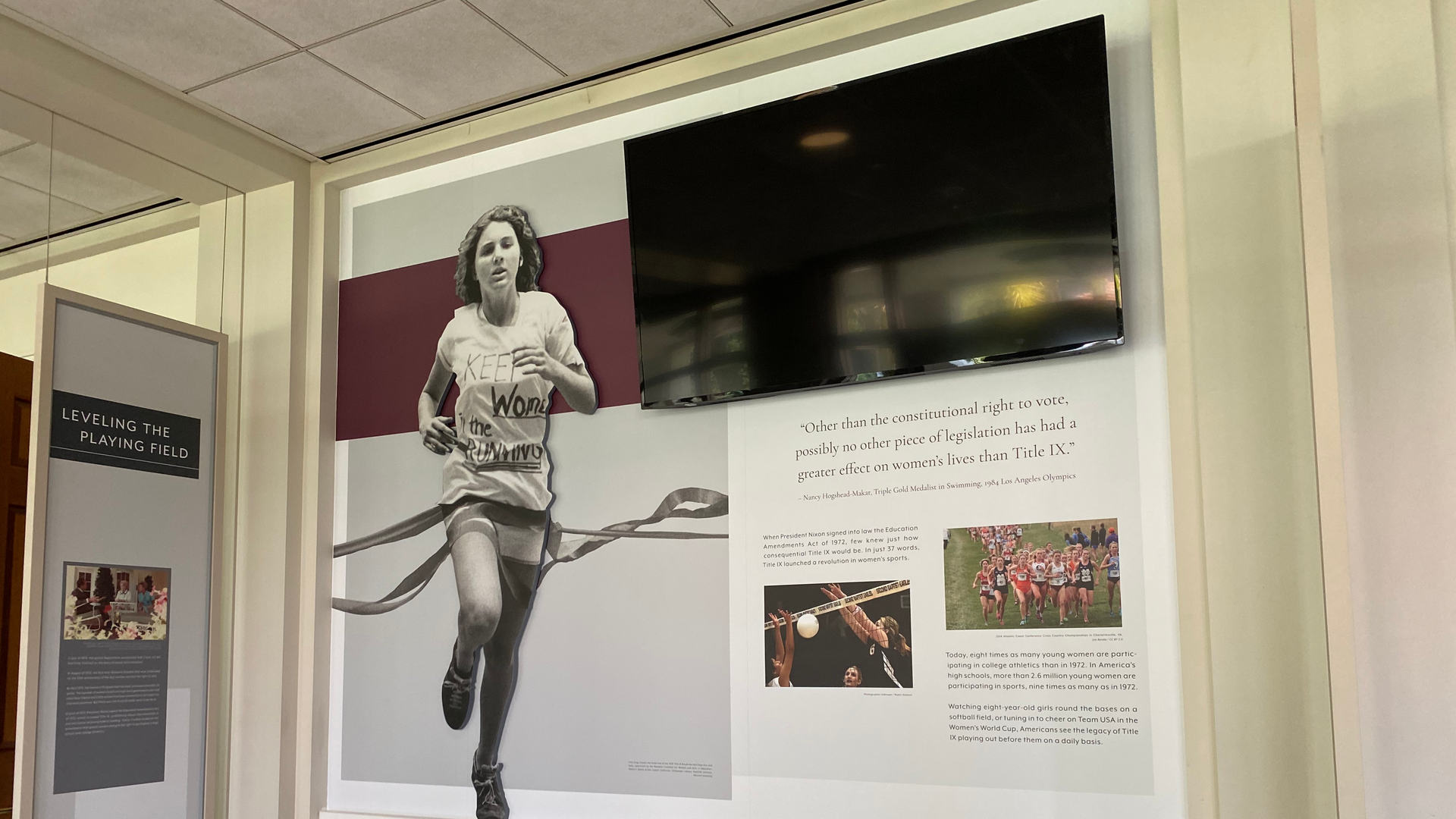 wall graphic featured in the title ix museum exhibit