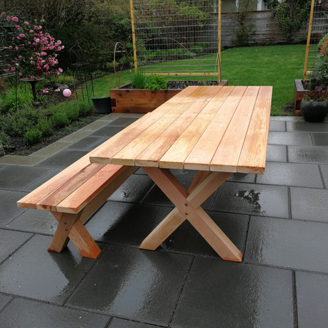 Cedar Table with Matching Bench