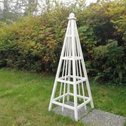 6' Cedar Obelisk, White Stain, Sphere Finial