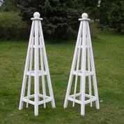 5' Pine Obelisk, Solid White Stain