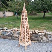 7' Chevron Trellis Obelisk with Spire Finial