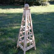 5' CedarTrellis Obelisk, Sphere Finial