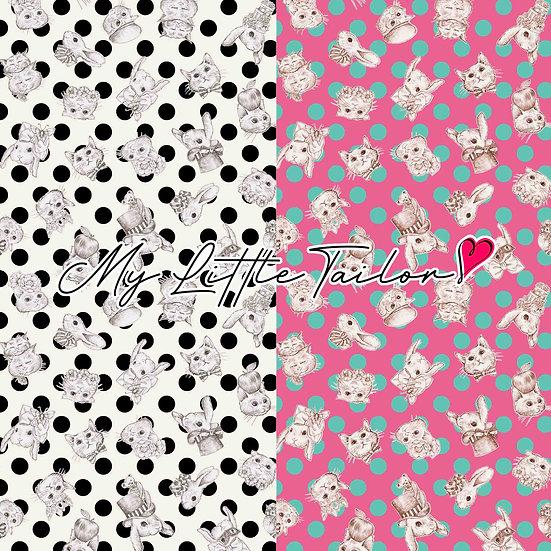 【ミニ柄】WonderDrop(ドット柄)White,Pink≪2色≫