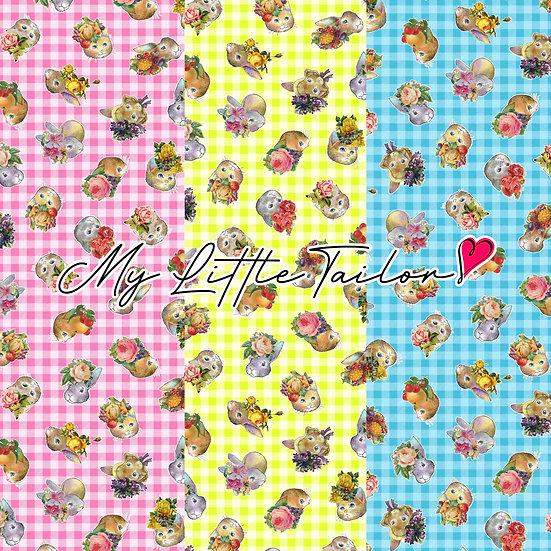 【ミニ柄】ColorfulGardenギンガム花冠 LightPink,Yellow,LightBlue≪3色≫