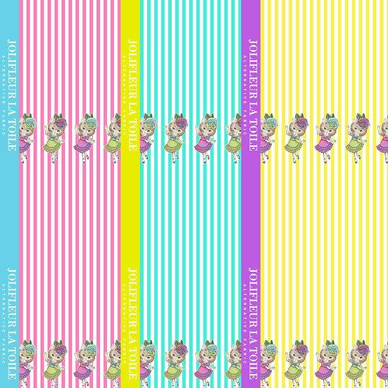 【ミニ柄】3枚組/ねこ花ストライプ・バレリーナ