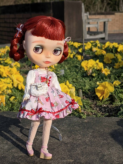 【BlytheOutFit】ゆめかわグラデハート天使柄(ピンク)