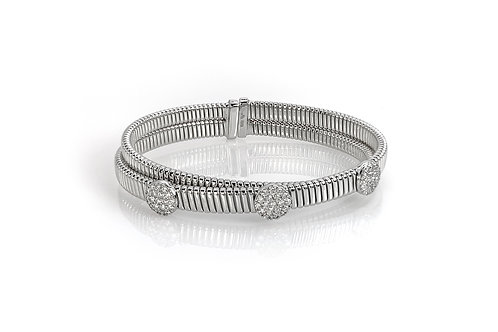 18KW Double Cuff Bracelet with 3 Diamond Pave Clusters