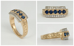 14KTT Sapphire and Diamond Ring with Hand Engraved Band
