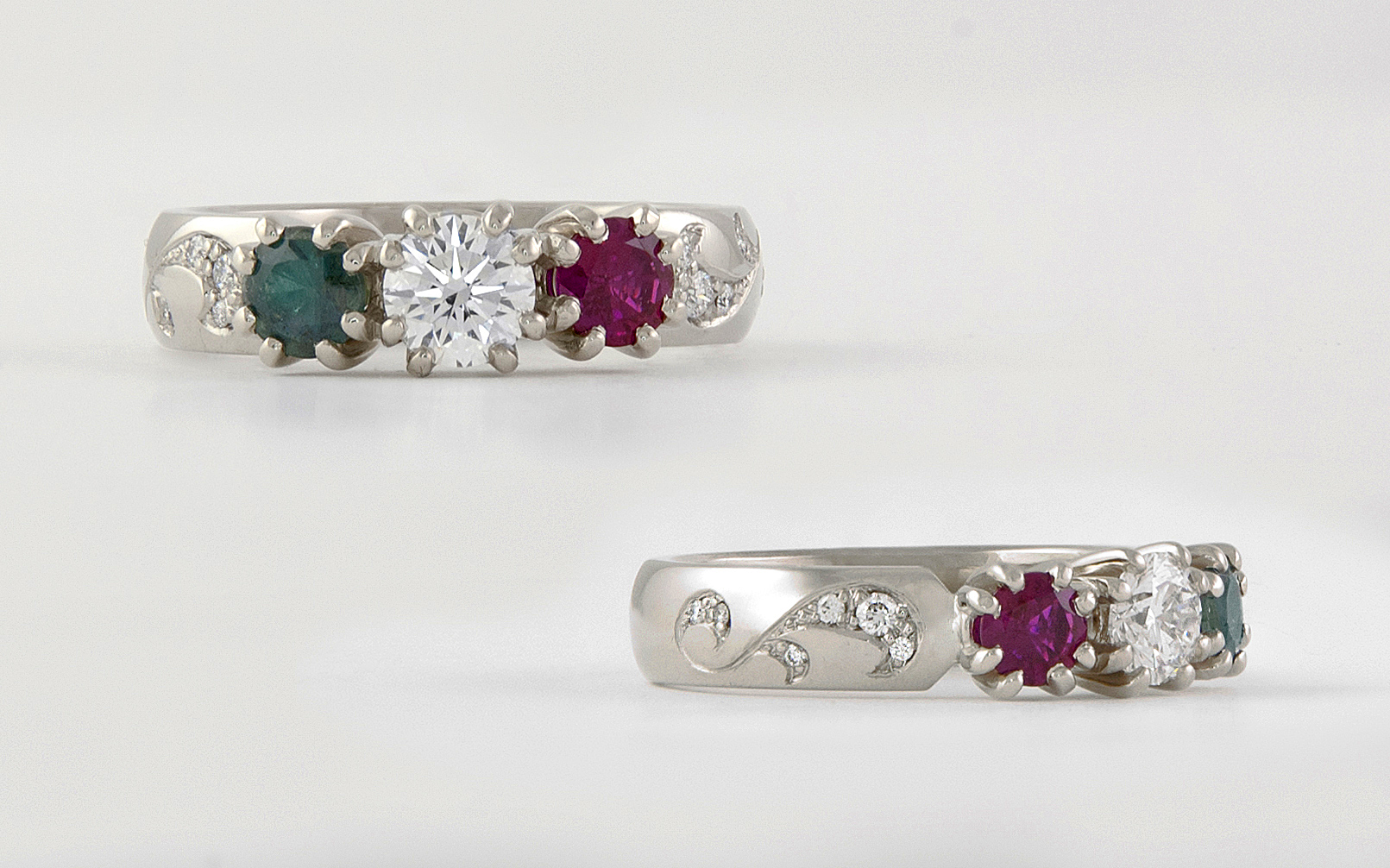 14K Mother's Ring w: Ruby Diamond and Alexandrite