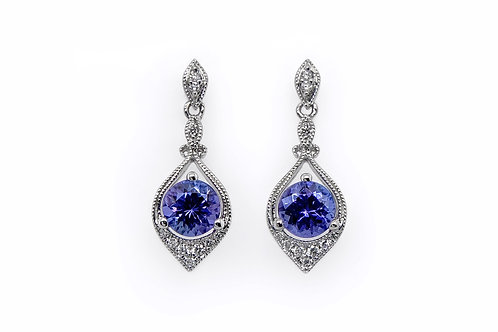 14KW Checkerboard Cut Tanzanite Earrings with Diamond Accent