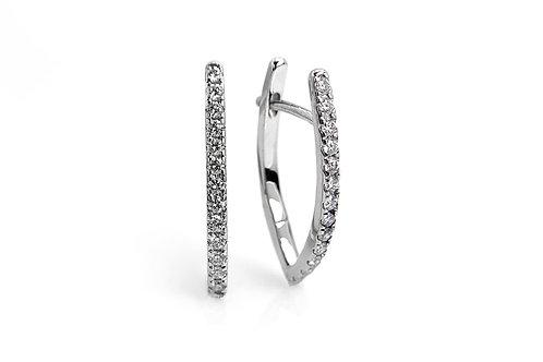 14KW Diamond V Shaped Huggie Hoop Earrings