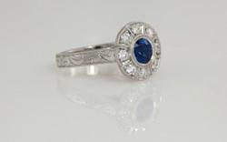 Platinum Hand Engraved Sapphire and Diamond Engagement Ring