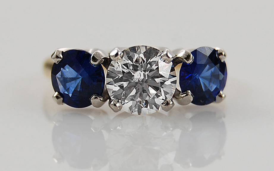 1.50 carat Diamond & Sapphire 3 Stone