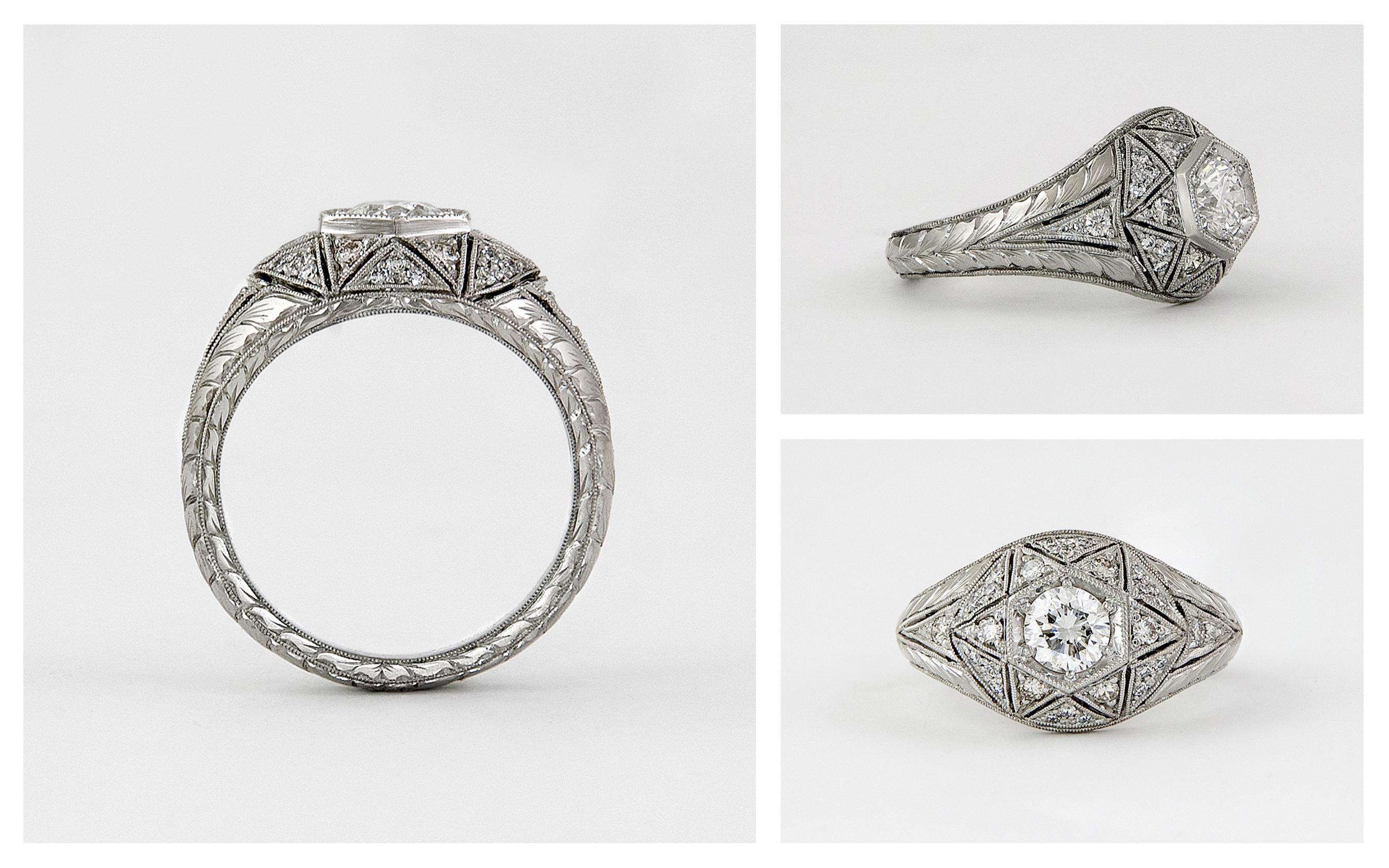 Hand Engraved Hand Pierced Diamond Engagement Ring