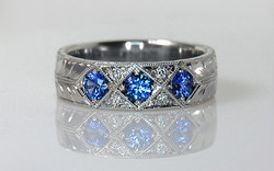 Hand Engraved 6mm Band with Sapphires & Diamonds