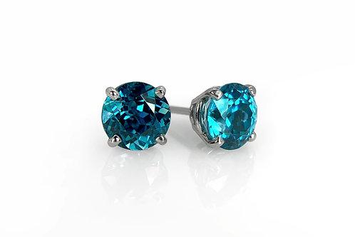 14KW Blue Zircon Stud Earrings