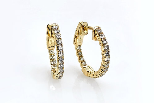 14KY Small Diamond Hoops