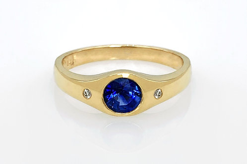 14KY Ceylon Sapphire and Diamond Gypsy Set Ring