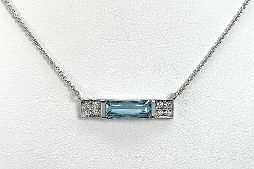 14KW Aquamarine and Diamond Pendant