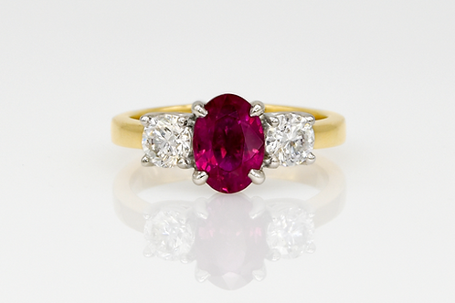 18KY/Platinum Ruby and Diamond Ring