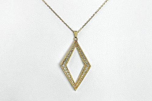 14KY Diamond Kite Shaped Pendant