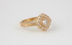 14KY Custom Hand Engraved Diamond Ring