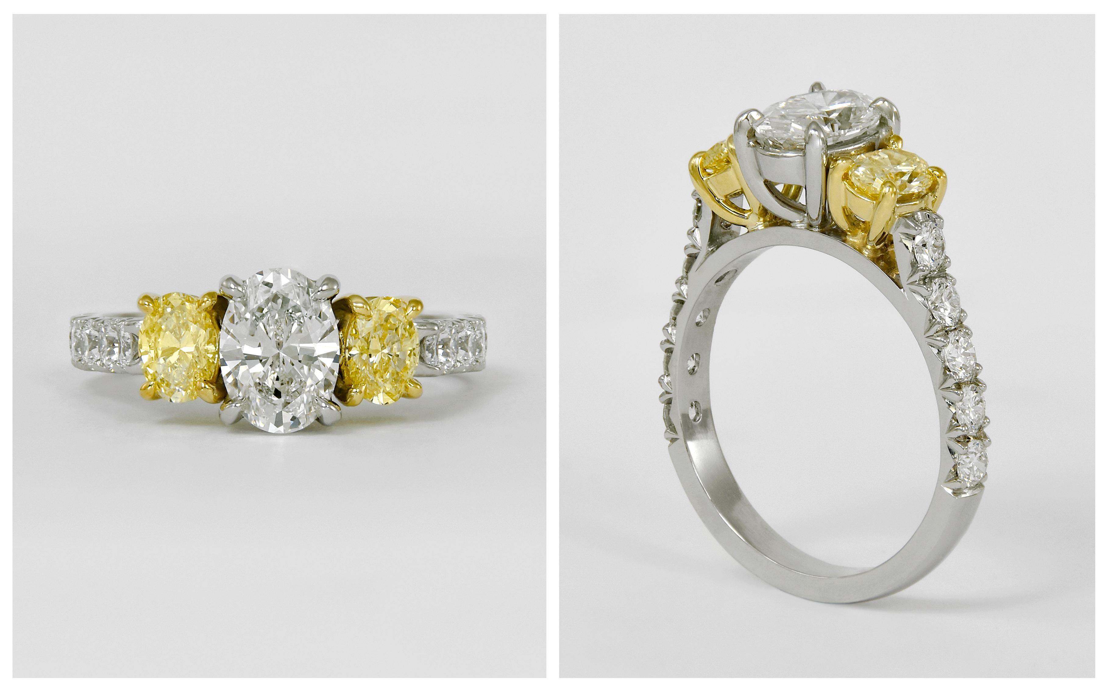 Platinum and 18KY Diamond Engagement Ring