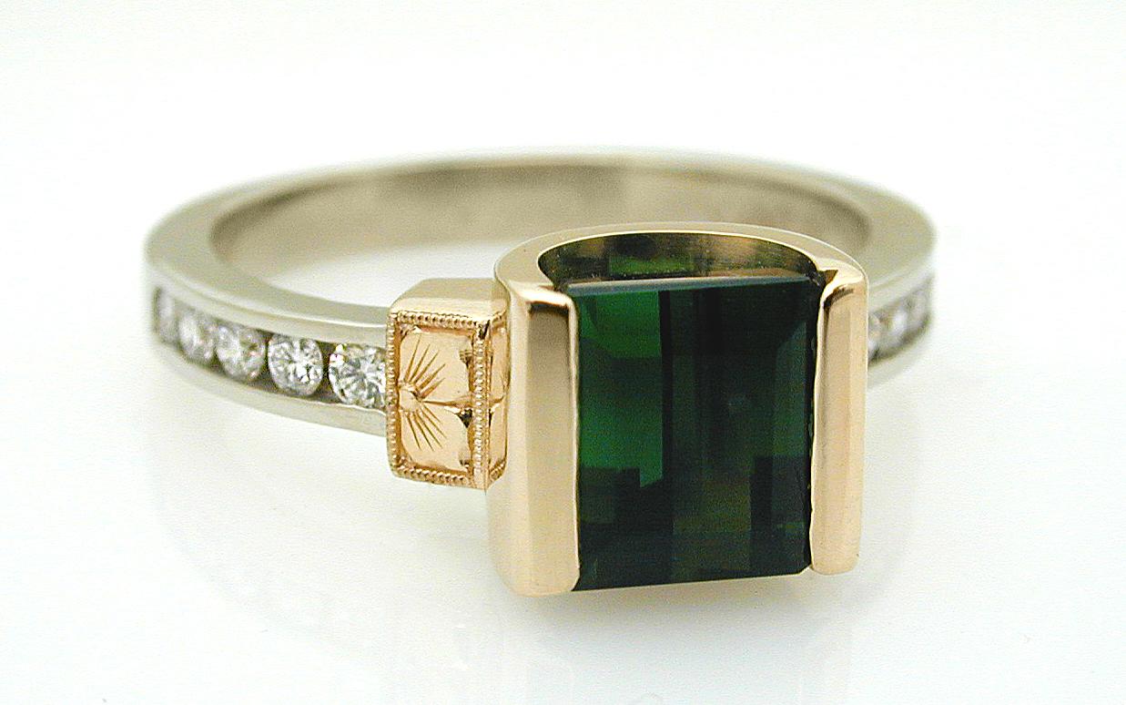 Green Tourmaline & Diamond with Hand Engraved Flowers