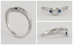 Hand Engraved Curved Platinum Diamond and Sapphire Wedding Band