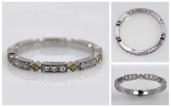 White & Natural Fancy Yellow Diamond Platinum Band