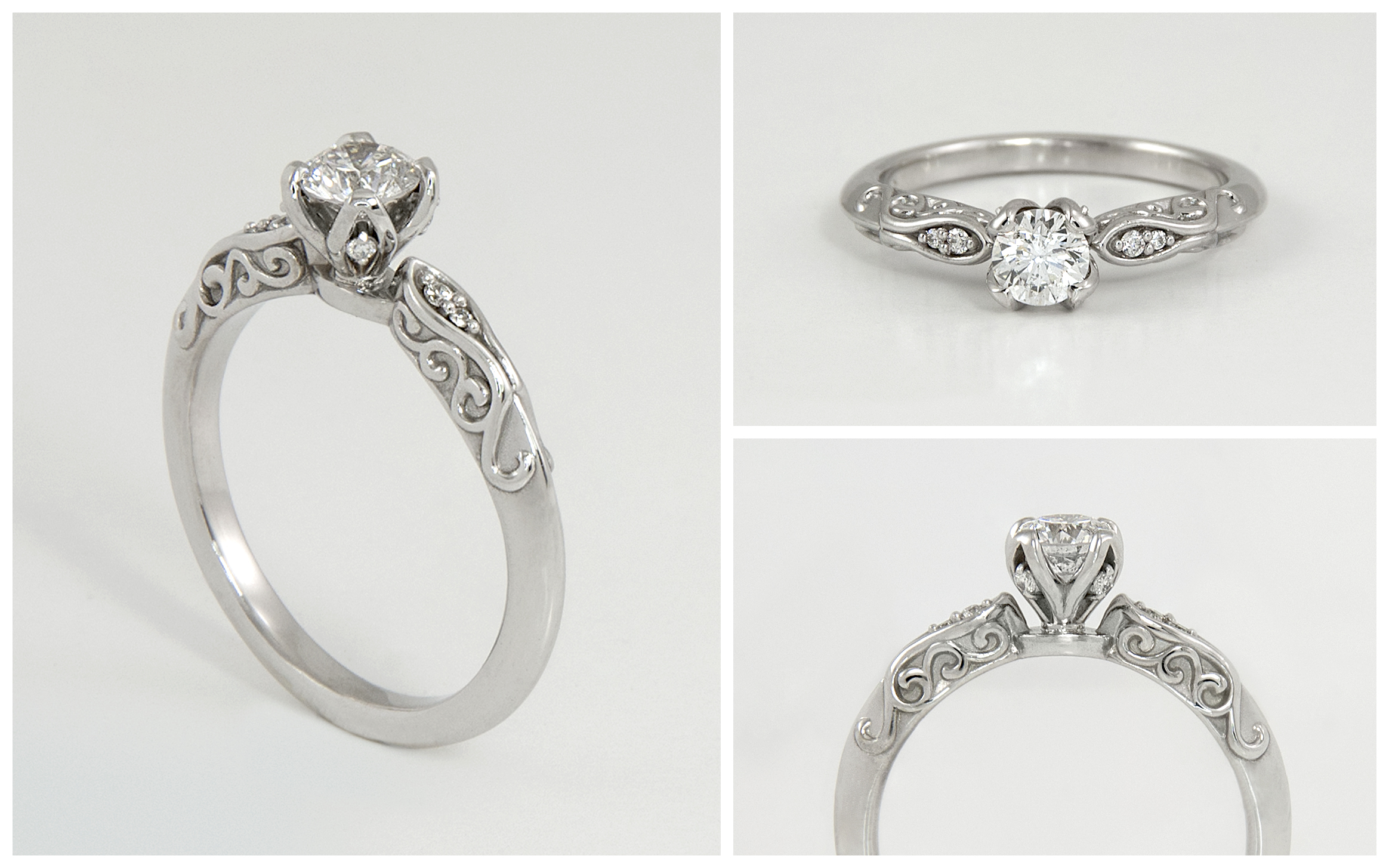 Diamond Engagement Ring With Scroll Accented Band