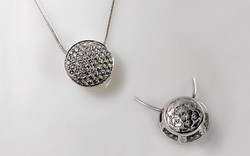 Diamond Cluster Pendant with Hand Engraved Flower