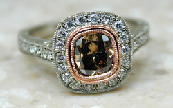 White & Rose Gold Hand Engraved .80 carat Natural Fancy Brown Diamond Halo