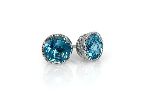14KW Checkerboard Cut Blue Topaz Earrings