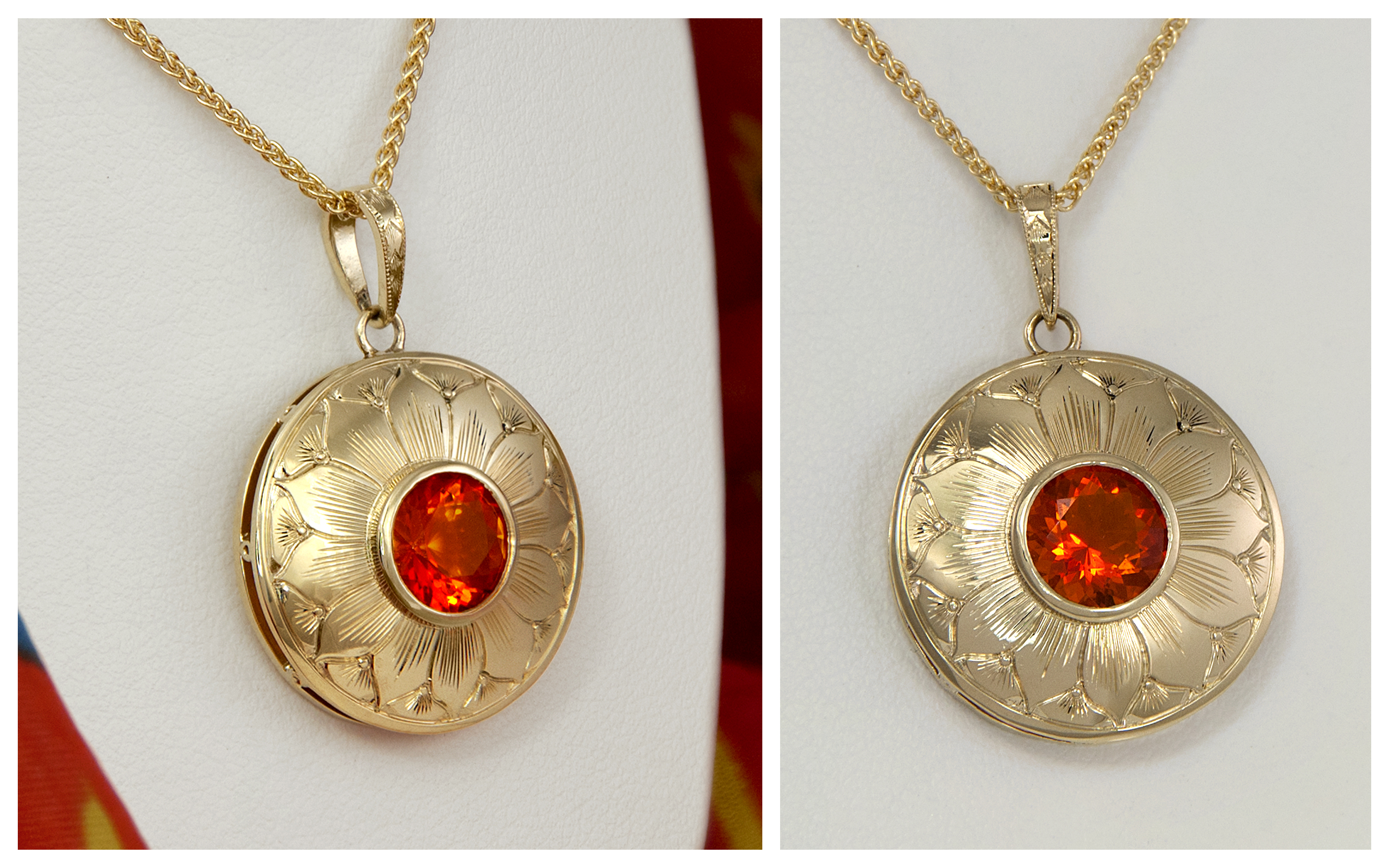 14KY Hand Engraved Mexican Fire Opal Pendant