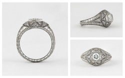 Hand Engraved Hand Pierced Diamond Engagement Ring