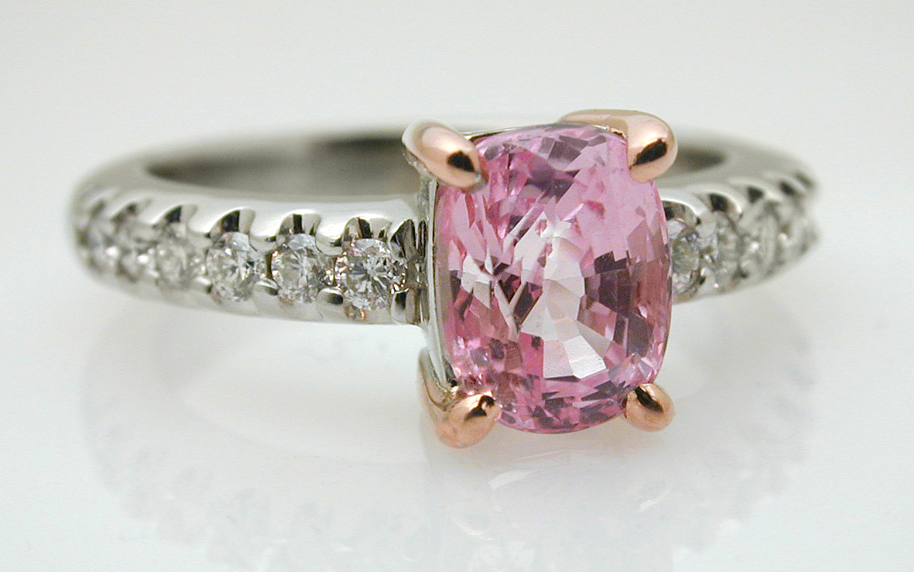 Rose & White Gold with Cushion Cut Pink Sapphire
