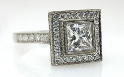 1 carat Princess Square Halo