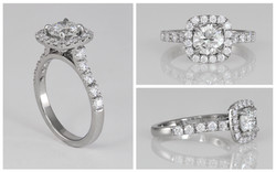 Platinum Halo Style Diamond Engagement R