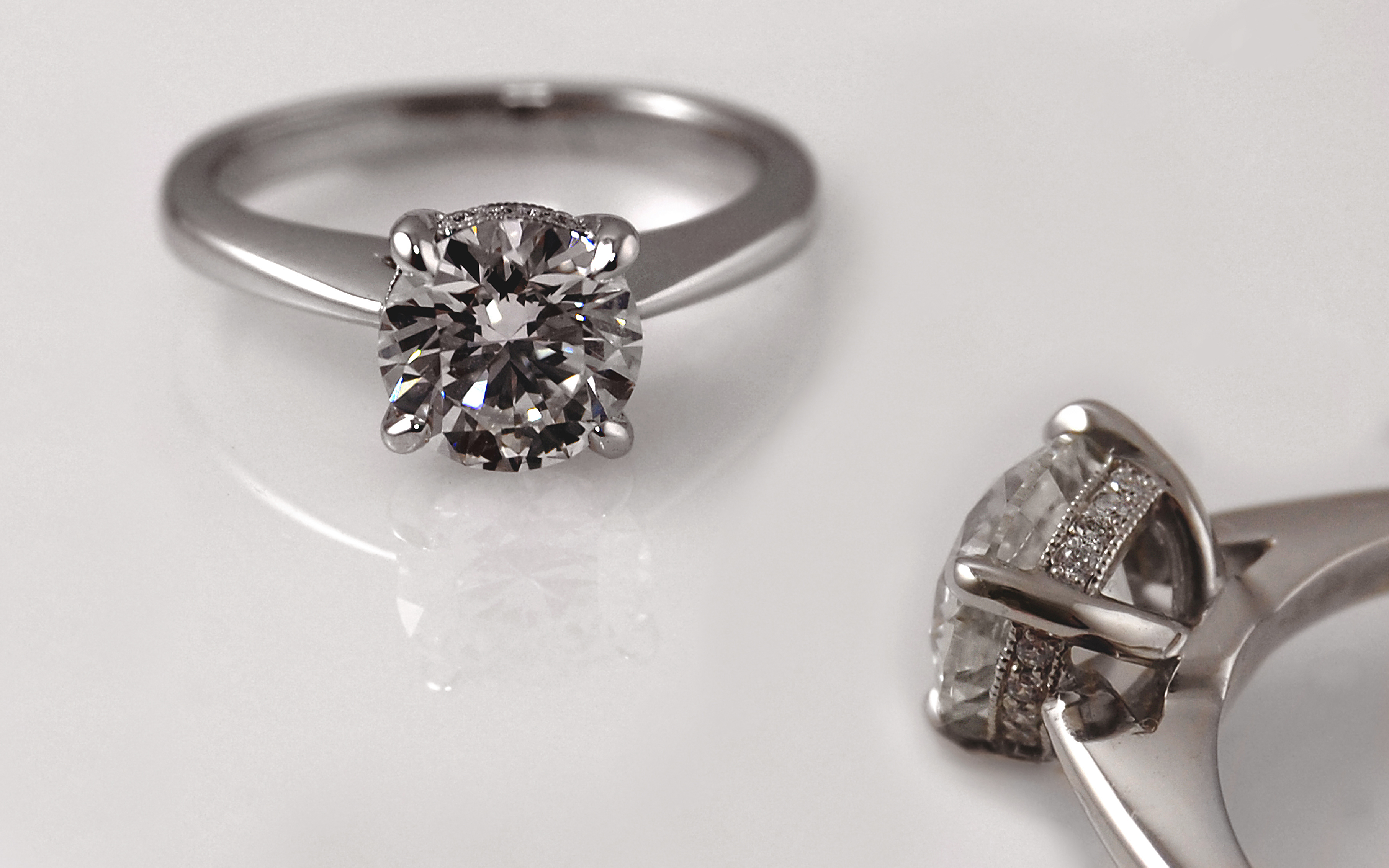 1 carat Solitaire with Diamonds in Gallery Wire
