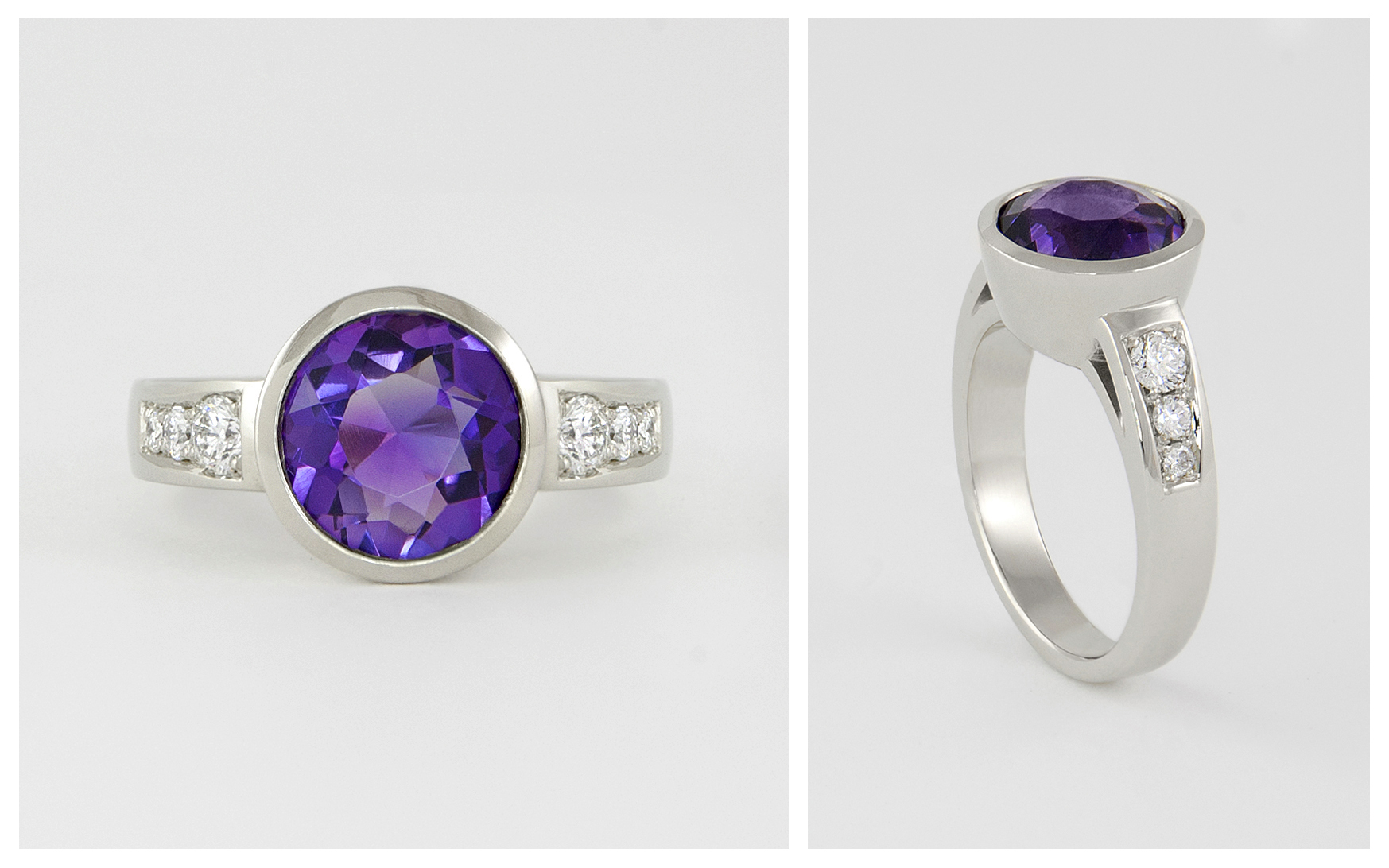 14 KW Bezel Ring with 9mm Amythyst and Diamonds collage