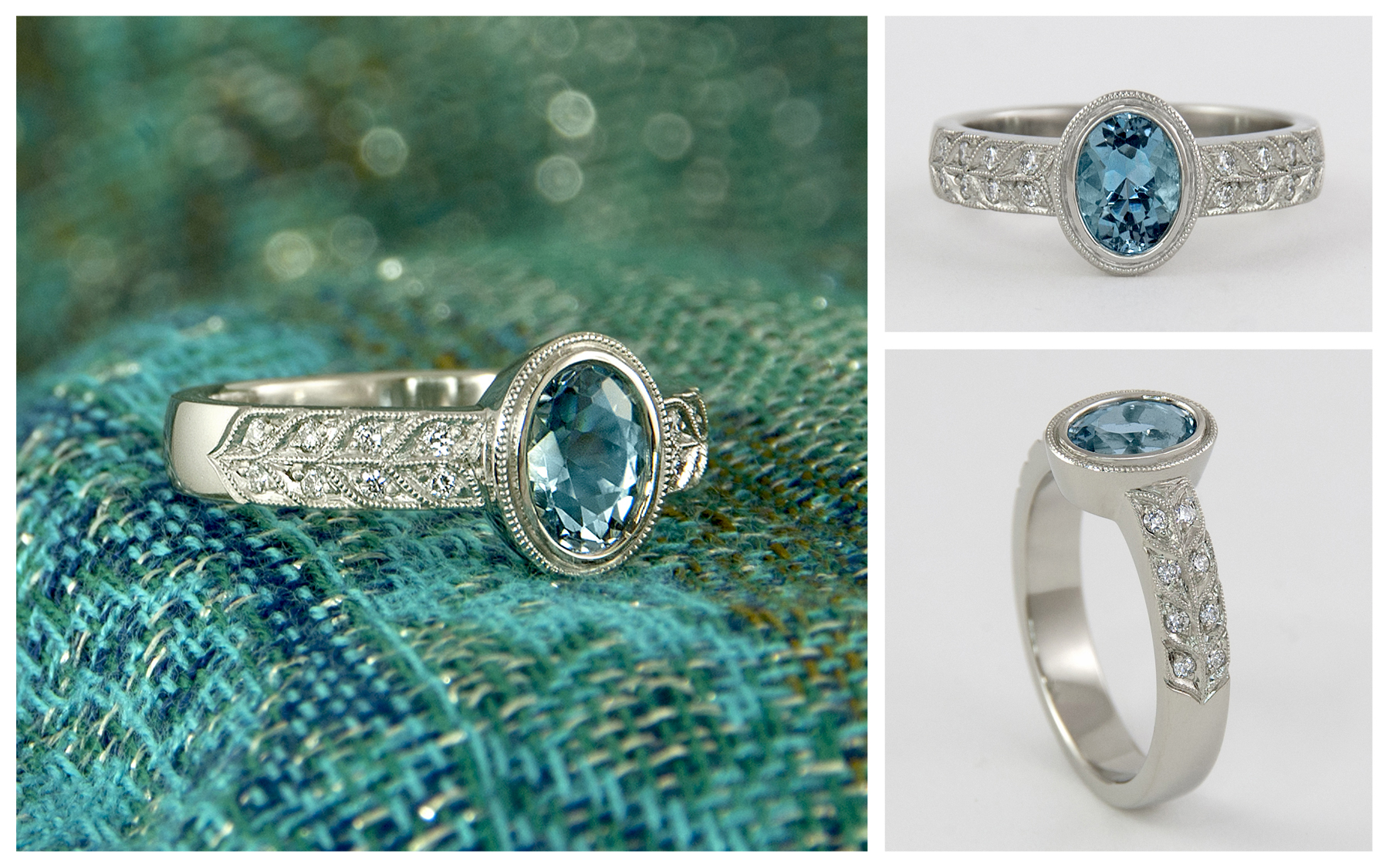 Bezel Set Aquamarine Ring With Double Row Millgrain