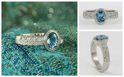 Bezel Set Aquamarine Ring With Double Row Millgrain