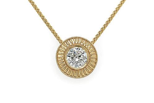 14KY Engraved Diamond Bezel Pendant