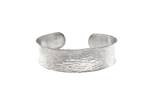 Sterling Silver Concave Hammered Bracelet