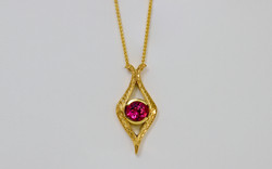14KY Hand Engraved Rubellite Tourmaline Pendant