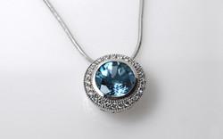 Aquamarine & Diamond Halo