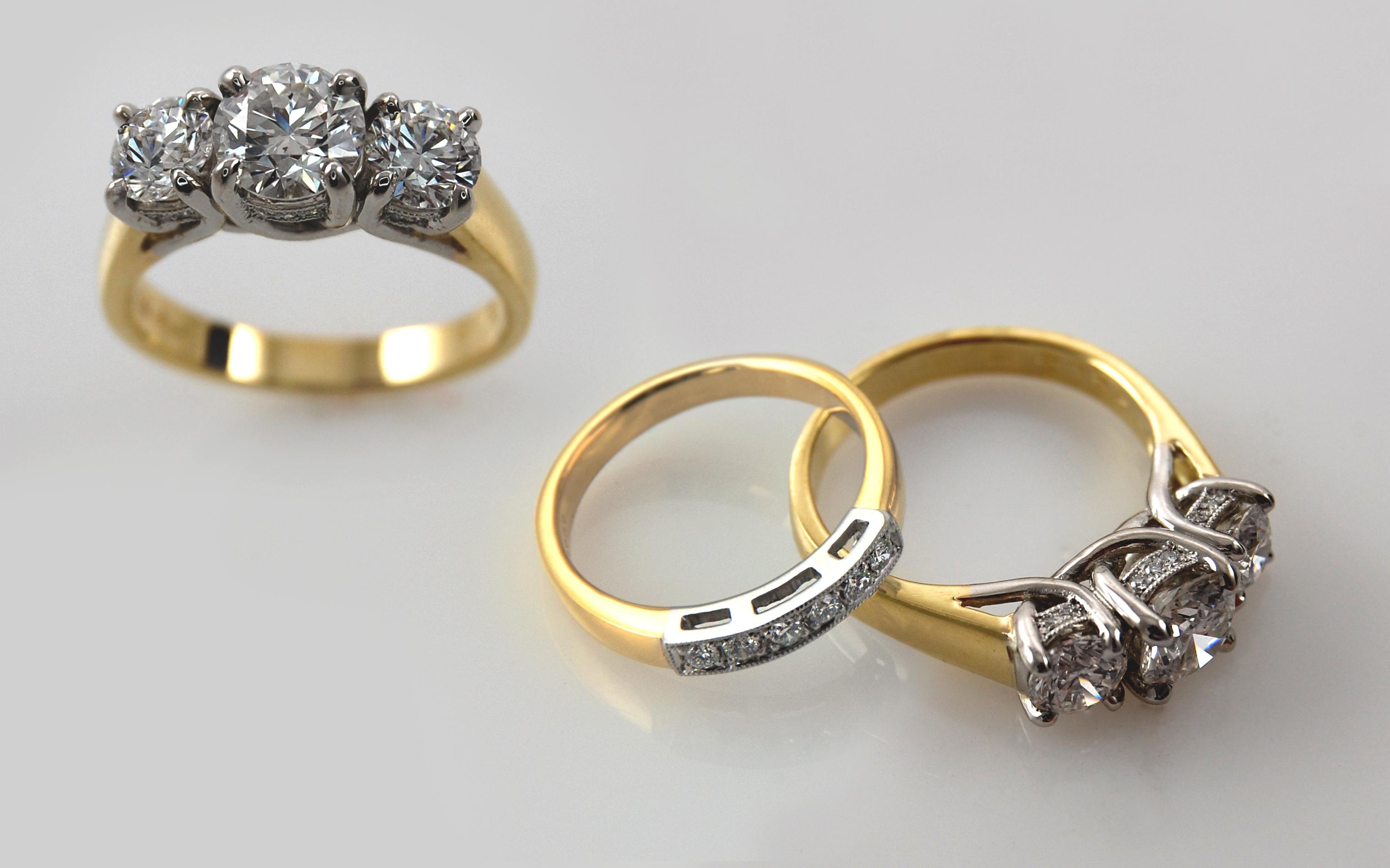 Platinum & 18K 2 carat total with Bead Set Diamond Gallery