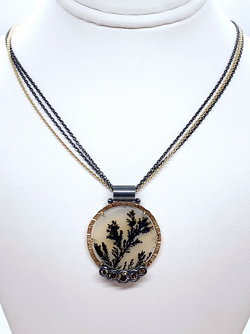 14KY & Sterling Silver Hand Fabricated Dendritic Agate & Brown Diamond Pendant