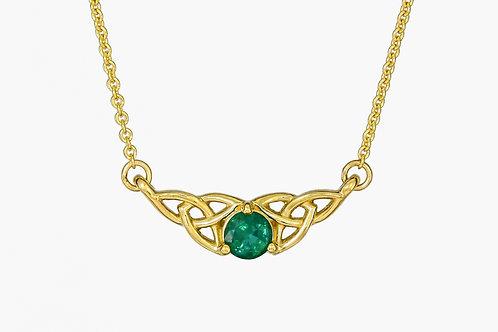 14KY Celtic Knot Emerald Pendant